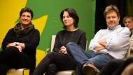 Heute ist Malstunde: Die Kandidaten Anja Piel, Annalena Baerbock und Robert Habeck