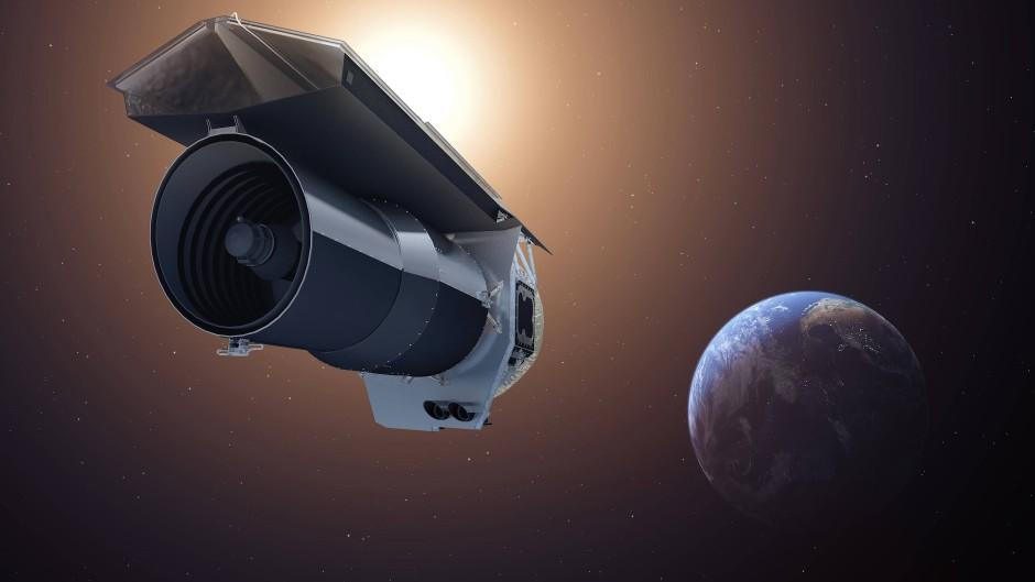 Das Weltraumteleskop Spitzer, hier künstlerisch dargestellt, beobachtete 350 Stunden lang den Planeten HAT-P-2b auf dem Weg um seinen Heimatstern.