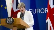 Großbritanniens Premierministerin Theresa May bei einer Pressekonferenz am Rande des EU-Gipfels im Oktober 2017
