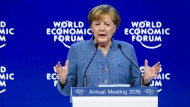 Engagiert: Angela Merkel spricht auf dem Weltwirtschaftsforum in Davos.