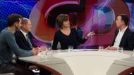 """Maybrit Illner diskutiert in ihrer Sendung am 15. Februar 2018 mit Gästen über die Frage: """"Machtspiele am Abgrund – ist Schwarz-Rot noch zu retten?"""""""