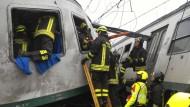 Italienischer Zug entgleist im Bahnhof
