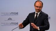 Der französische Premierminister Edouard Philippe während seiner Rede auf der Münchner Sicherheitskonferenz.