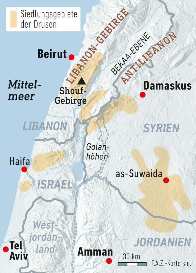 Zwischen einer halben und einer Million Drusen leben noch im Nahen Osten. Etwa 200.000 haben die Region inzwischen verlassen.
