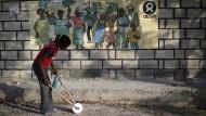 Eine Oxfam-Malerei auf Haiti.
