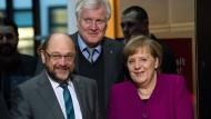 Schulz, Seehofer und Merkel am Freitag in der SPD-Parteizentrale in Berlin