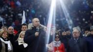Brüder, zur Sonne, zur Freiheit: Wladimir Putin tritt am 3.März vor Zehntausenden im Moskauer Luschniki-Stadion auf.
