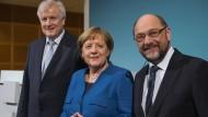 Die Parteichefs Horst Seehofer (CSU), Angela Merkel (CDU) und Martin Schulz (SPD)
