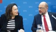 Andrea Nahles und Martin Schulz bei einer Pressekonferenz der SPD
