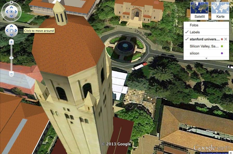 Blick auf die Stanford University mit Google Earth