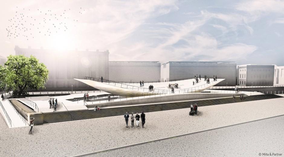 Die Wippe auf der Kippe? Ein Modell des geplanten Freiheits- und Einheitsdenkmals in Berlin.