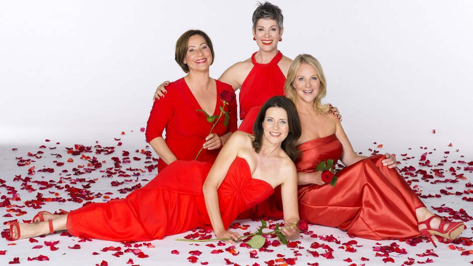 """Die """"Rote Rosen""""-Heldinnen Annett Kruschke (l.), Cheryl Shepard, Patricia Schäfer und Anne Moll vor der zweitausendfünfhundertsten Folge der Telenovela"""