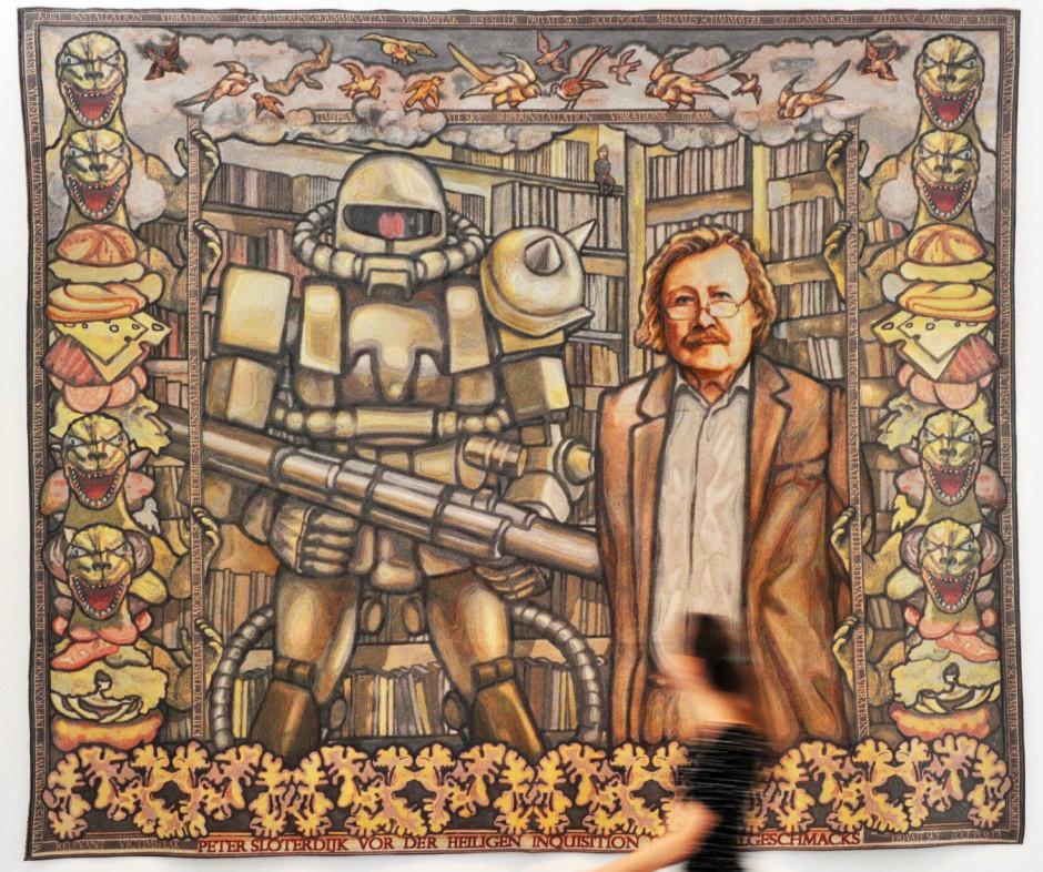 """Der Autor als Kunstgegenstand: Margret Eichers Wandteppich """"Peter Sloterdijk vor der heiligen Inquisition des Trivialgeschmacks"""""""