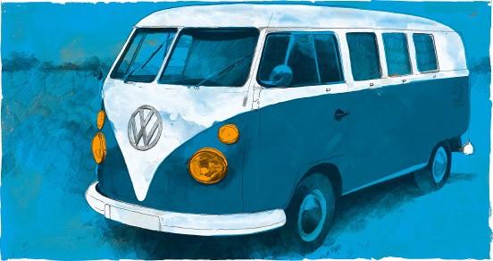 Der VW-Bus diente als Vehikel und Schlafstätte, die Kinder teilten mit dem Lehrer das Lager im Bus