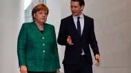 In den meisten Punkten einig: Angela Merkel und Sebastian Kurz in Berlin