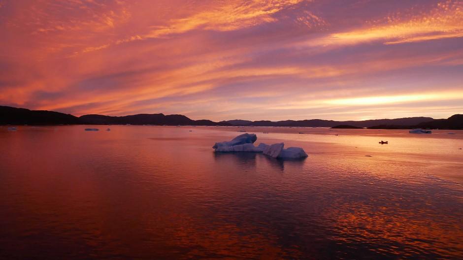 Der Himmel über Grönland, kurz nachdem das Schiff abgelegt hat.