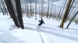 Unterwegs auf dem Schnee-Surfbrett