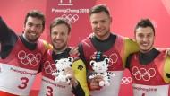 Doppelte deutsche Freude: Tobias Wendl und Tobias Arlt holen Gold, Toni Eggert und Sascha Benecken Bronze (von links nach rechts).
