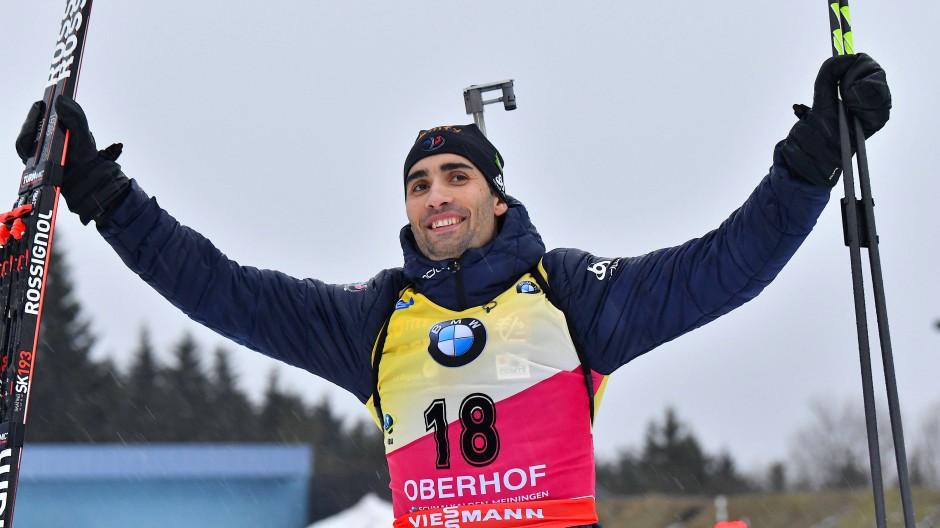 Der Superstar mag Oberhof: Martin Fourcade bei seinem Sieg am Freitag