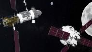 """Computergrafik der geplanten Raumstation """"Deep Space Gateway"""" (links). Von rechts nähert sich Raumschiff """"Orion""""."""
