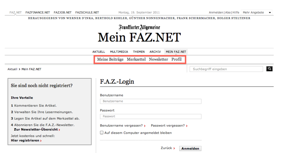 Navigation innerhalb von Mein FAZ.NET